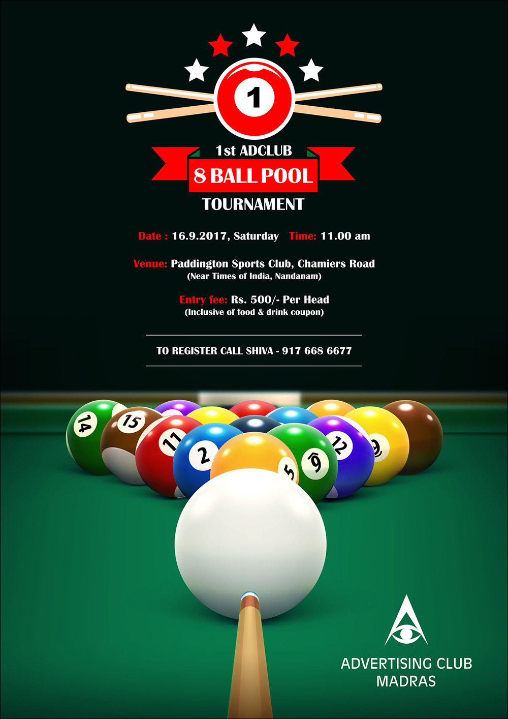 1st Ad Club 8 Ball Pool Tournament 2017